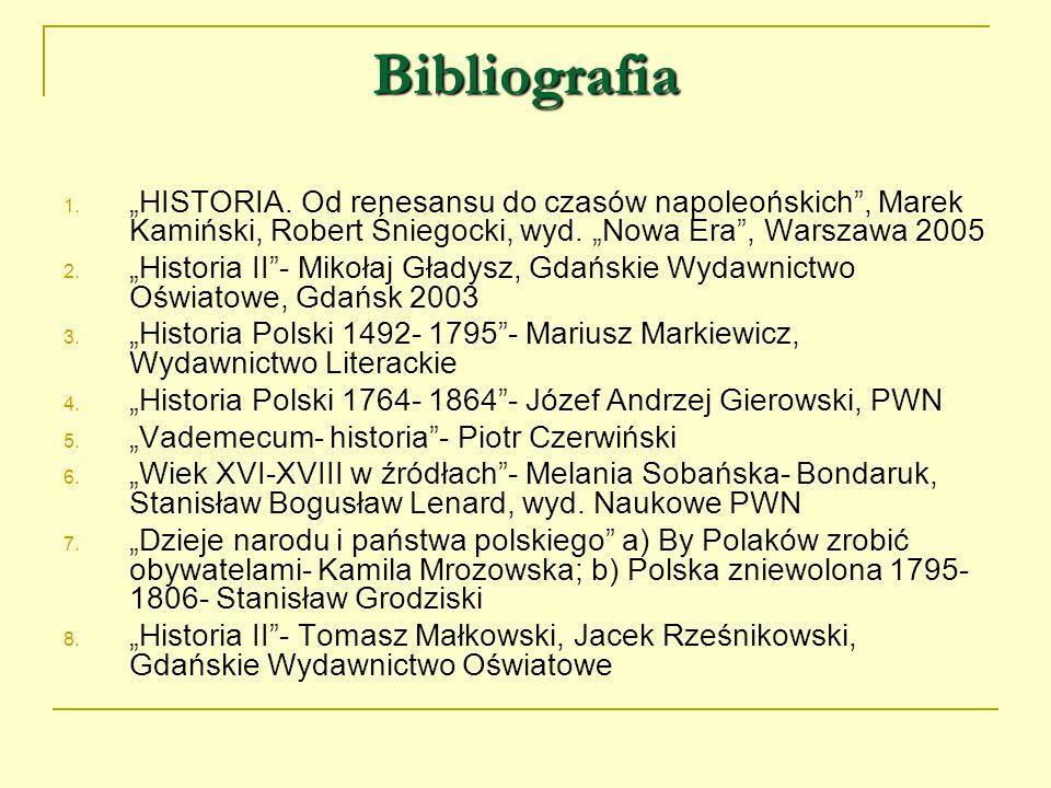Bibliografia 1. HISTORIA. Od renesansu do czasów napoleońskich, Marek Kamiński, Robert Śniegocki, wyd. Nowa Era, Warszawa 2005 2. Historia II- Mikołaj