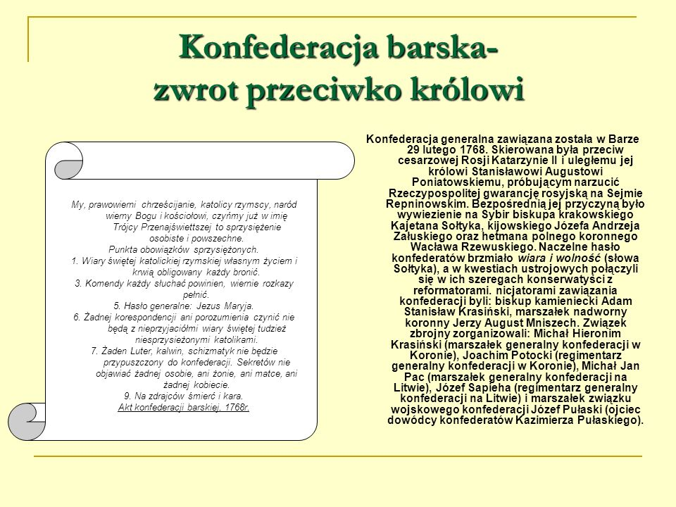 II rozbiór Polski Motywacja drugiego rozbioru przez Katarzynę II Za dowód, jaki w Polsce panuje nastrój umysłów, służy wyznanie znaczniejszych członków przysłanej tu delegacji konfederackiej: skoro wojska rosyjskie ustąpią z Rzeczypospolitej, wszystko, zaprowadzone pod ich osłoną, w mgnieniu oka zastanie wywrócone.