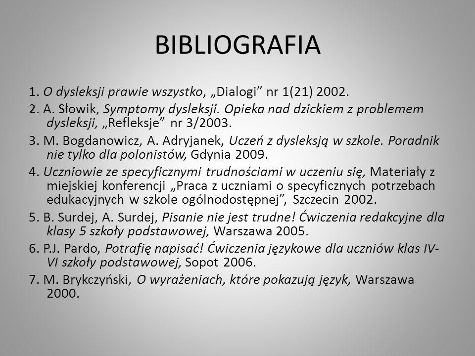 BIBLIOGRAFIA 1. O dysleksji prawie wszystko, Dialogi nr 1(21) 2002. 2. A. Słowik, Symptomy dysleksji. Opieka nad dzickiem z problemem dysleksji, Refle