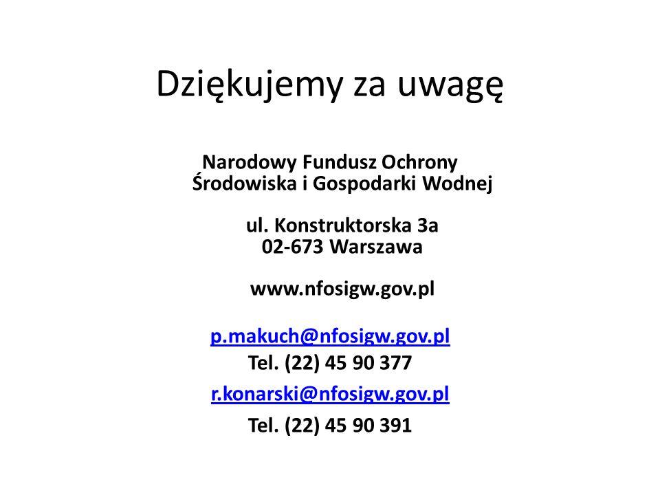 Dziękujemy za uwagę Narodowy Fundusz Ochrony Środowiska i Gospodarki Wodnej ul. Konstruktorska 3a 02-673 Warszawa www.nfosigw.gov.pl p.makuch@nfosigw.
