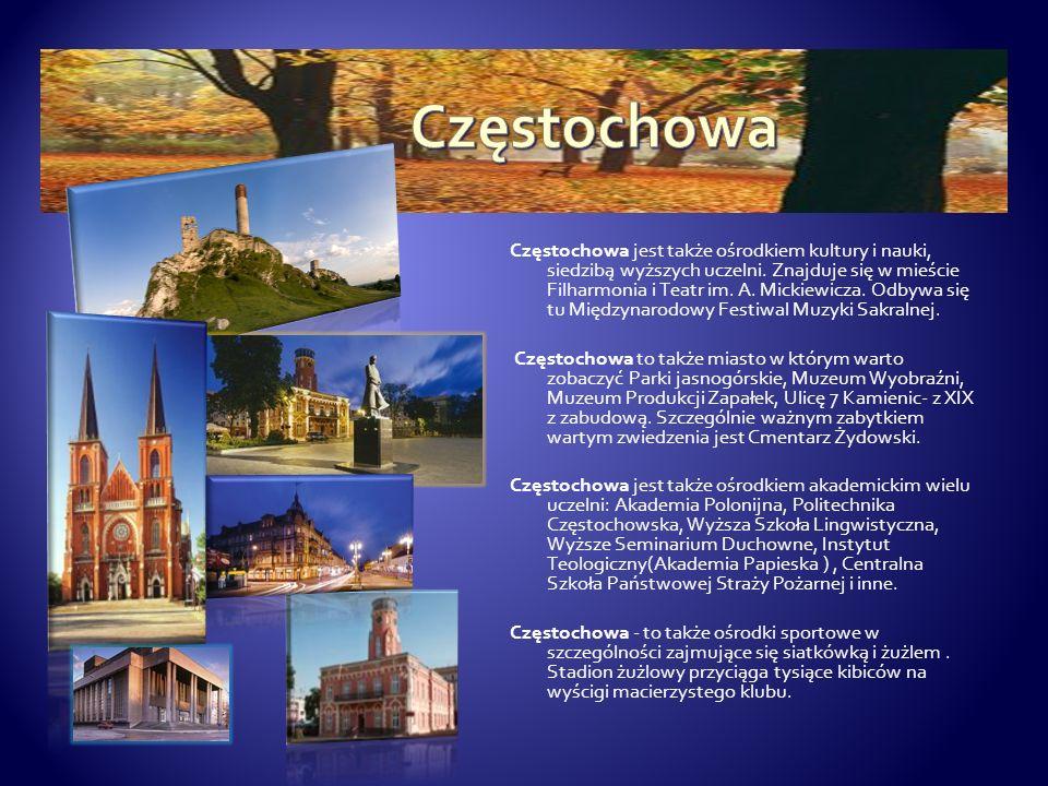 Częstochowa jest także ośrodkiem kultury i nauki, siedzibą wyższych uczelni. Znajduje się w mieście Filharmonia i Teatr im. A. Mickiewicza. Odbywa się
