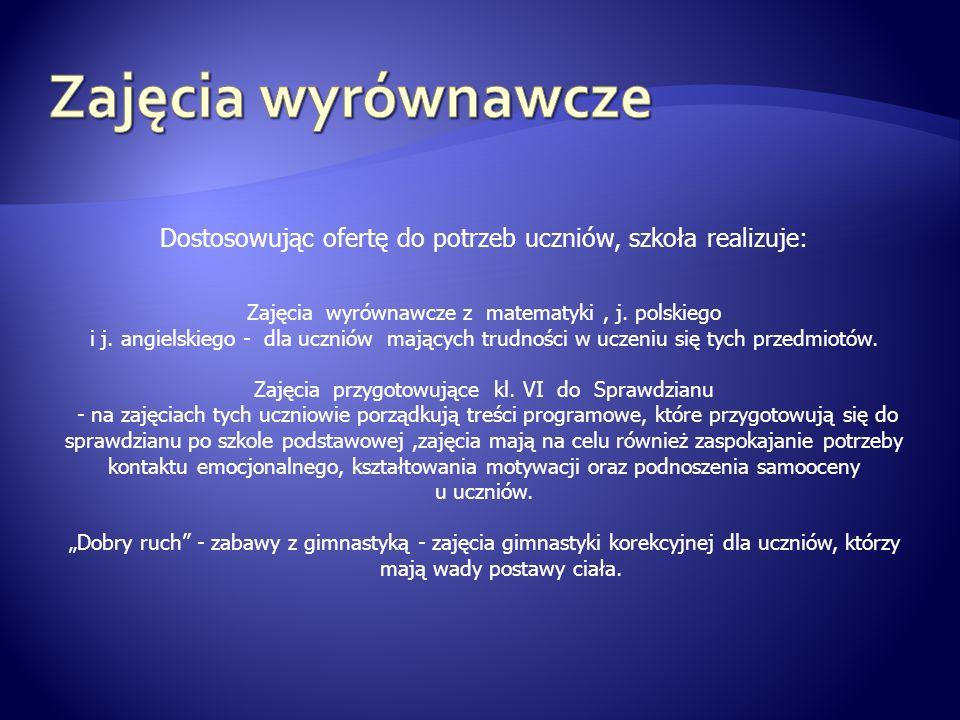 Dostosowując ofertę do potrzeb uczniów, szkoła realizuje: Zajęcia wyrównawcze z matematyki, j. polskiego i j. angielskiego - dla uczniów mających trud