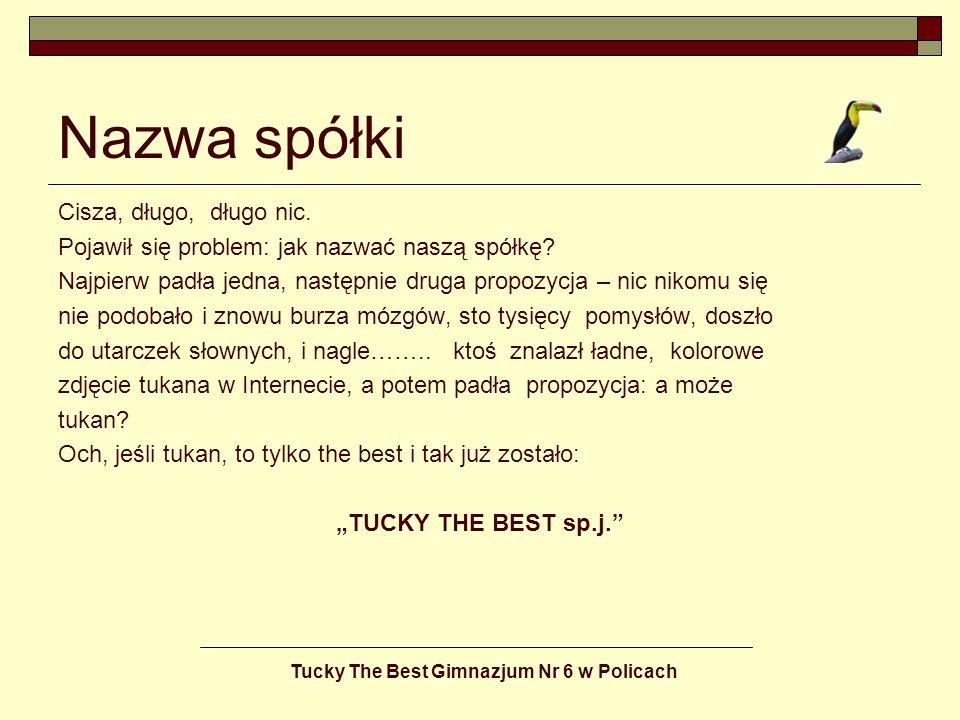 Tucky The Best Gimnazjum Nr 6 w Policach Podział obowiązków Zdecydowaliśmy się razem pracować, wspólnie podejmować decyzje, dzielić się zyskami, ponosić konsekwencje błędnych decyzji i nieprzewidzianych sytuacji rynkowych.