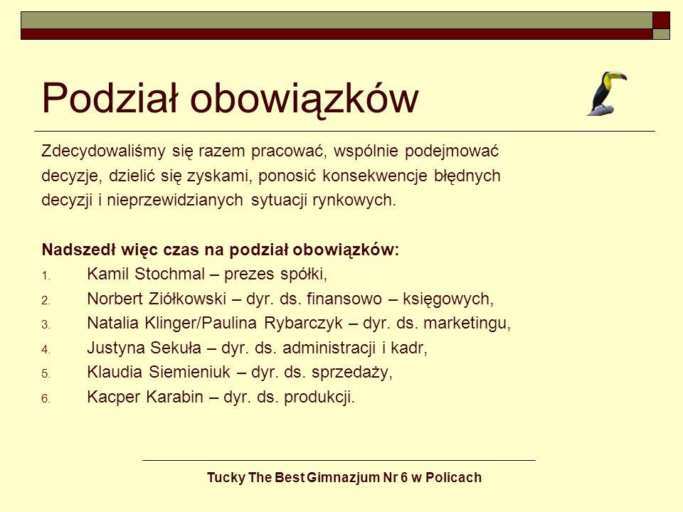 Tucky The Best Gimnazjum Nr 6 w Policach ZAMÓWIENIE Zamówienie: im więcej zamówień, tym lepiej dla firmy.