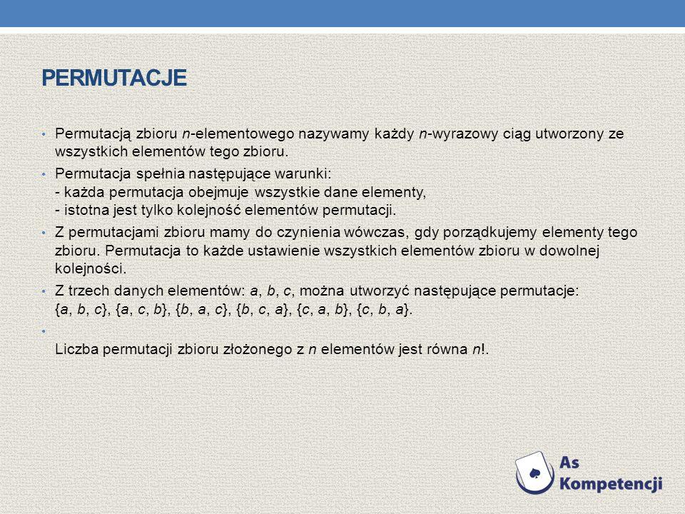 PERMUTACJE Permutacją zbioru n-elementowego nazywamy każdy n-wyrazowy ciąg utworzony ze wszystkich elementów tego zbioru. Permutacja spełnia następują