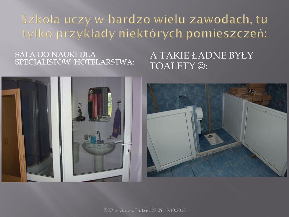 SALA DO NAUKI DLA SPECJALISTÓW HOTELARSTWA: A TAKIE ŁADNE BYŁY TOALETY : ZSO w Gruzji, Kutaisi 27.09 - 5.10.2013