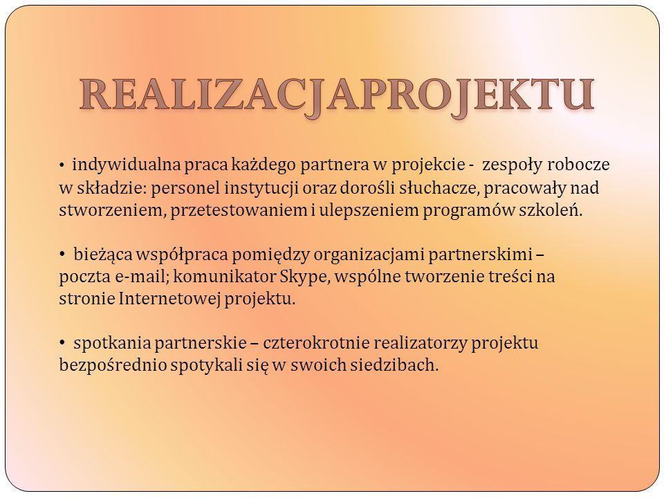 indywidualna praca każdego partnera w projekcie - zespoły robocze w składzie: personel instytucji oraz dorośli słuchacze, pracowały nad stworzeniem, p