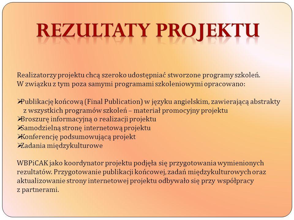 Realizatorzy projektu chcą szeroko udostępniać stworzone programy szkoleń. W związku z tym poza samymi programami szkoleniowymi opracowano: Publikację