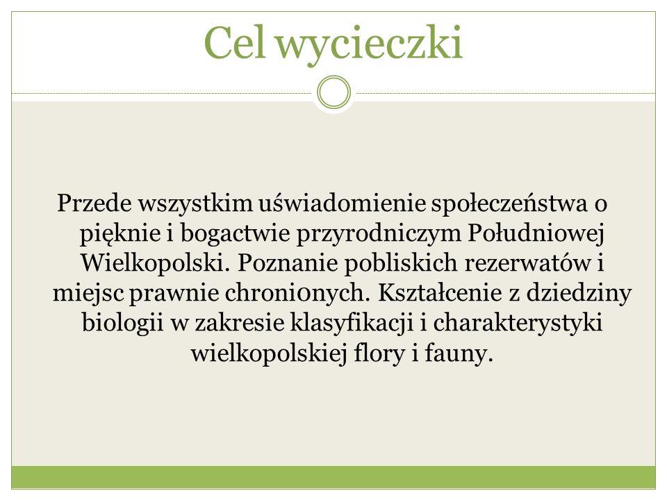 Cel wycieczki Przede wszystkim uświadomienie społeczeństwa o pięknie i bogactwie przyrodniczym Południowej Wielkopolski. Poznanie pobliskich rezerwató