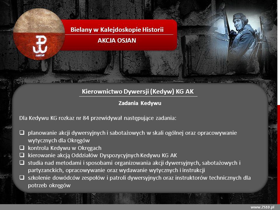 www.ZS10.pl Bielany w Kalejdoskopie Historii AKCJA OSJAN Kierownictwo Dywersji (Kedyw) KG AK Zadania Kedywu Dla Kedywu KG rozkaz nr 84 przewidywał nas
