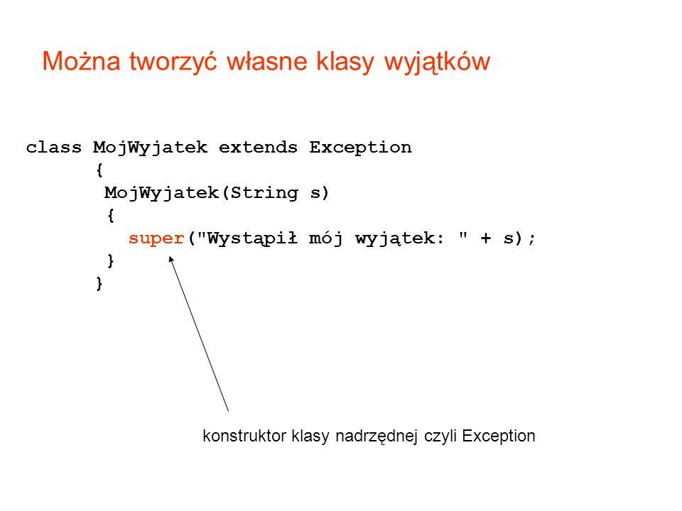 class MojWyjatek extends Exception { MojWyjatek(String s) { super( Wystąpił mój wyjątek: + s); } konstruktor klasy nadrzędnej czyli Exception Można tworzyć własne klasy wyjątków