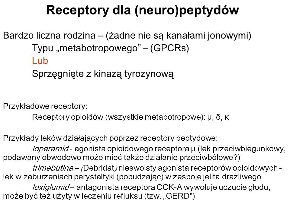 Receptory dla (neuro)peptydów Bardzo liczna rodzina – (żadne nie są kanałami jonowymi) T ypu metabotropowego – (GPCRs) Lub Sprzęgnięte z kinazą tyrozy