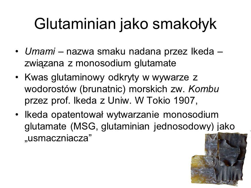 Glutaminian jako smakołyk Umami – nazwa smaku nadana przez Ikeda – związana z monosodium glutamate Kwas glutaminowy odkryty w wywarze z wodorostów (br