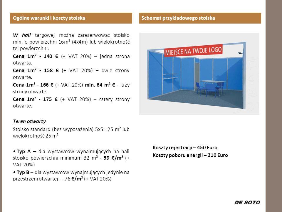 Schemat przykładowego stoiska Koszty rejestracji – 450 Euro Koszty poboru energii – 210 Euro Ogólne warunki i koszty stoiska W hali targowej można zar
