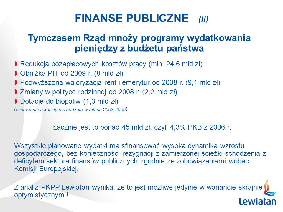 FINANSE PUBLICZNE (ii) Redukcja pozapłacowych kosztów pracy (min. 24,6 mld zł) Obniżka PIT od 2009 r. (8 mld zł) Podwyższona waloryzacja rent i emeryt