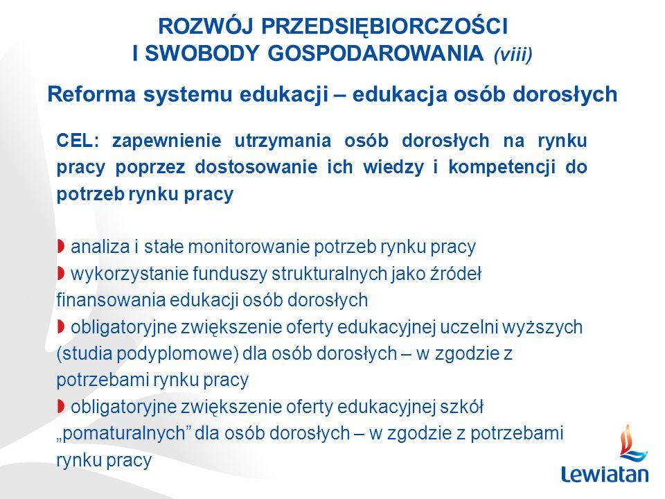 ROZWÓJ PRZEDSIĘBIORCZOŚCI I SWOBODY GOSPODAROWANIA (viii) Reforma systemu edukacji – edukacja osób dorosłych CEL: zapewnienie utrzymania osób dorosłyc