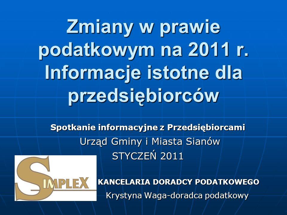 Zmiany w prawie podatkowym na 2011 r.