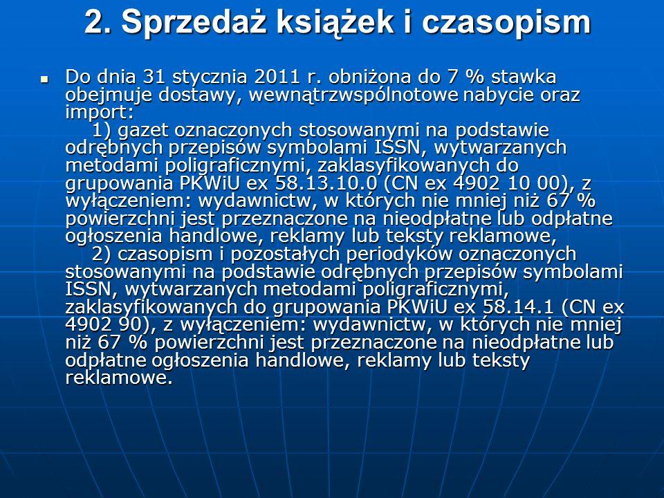 2. Sprzedaż książek i czasopism Do dnia 31 stycznia 2011 r.