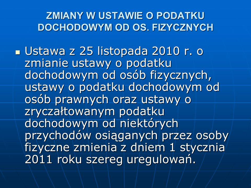 ZMIANY W USTAWIE O PODATKU DOCHODOWYM OD OS. FIZYCZNYCH Ustawa z 25 listopada 2010 r.