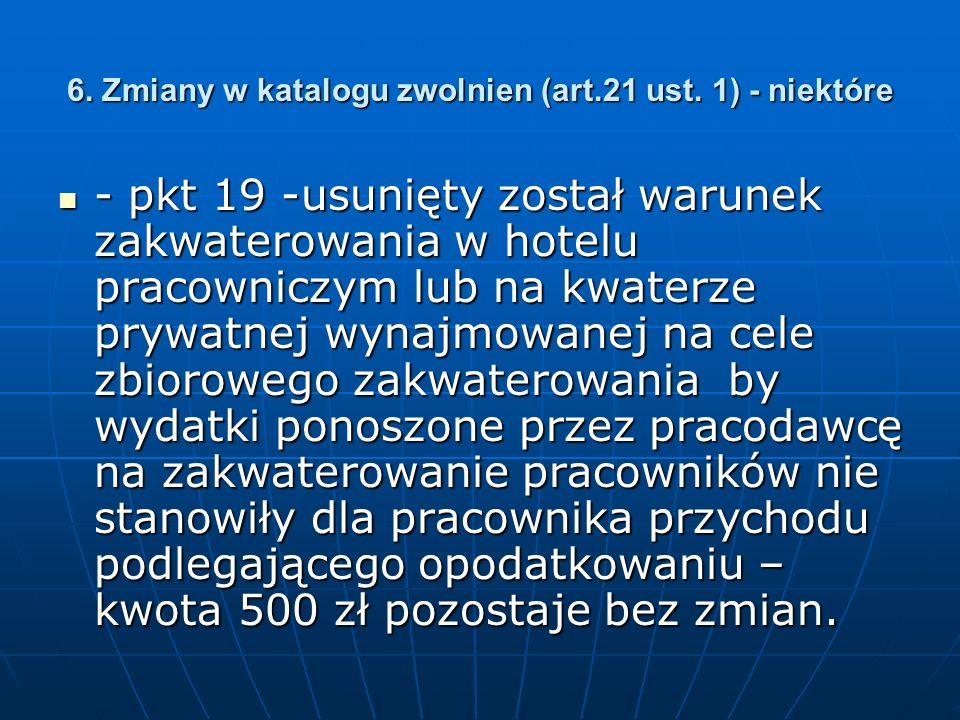 6. Zmiany w katalogu zwolnien (art.21 ust.