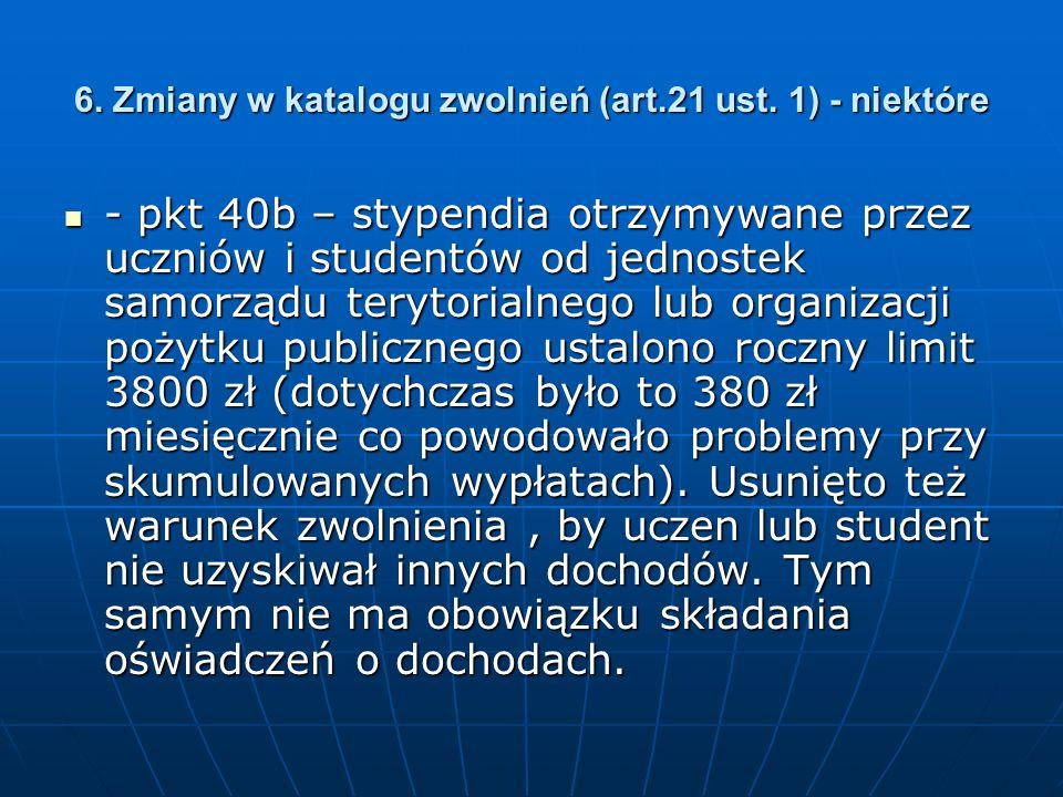6. Zmiany w katalogu zwolnień (art.21 ust.