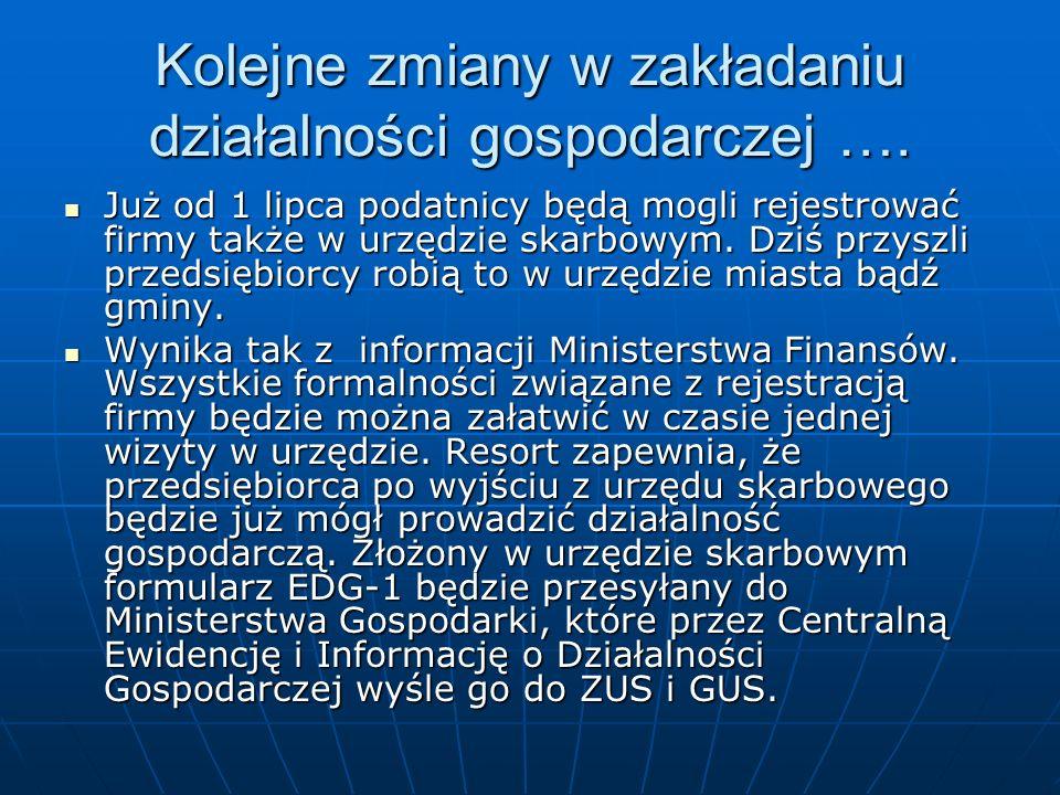 Kolejne zmiany w zakładaniu działalności gospodarczej ….