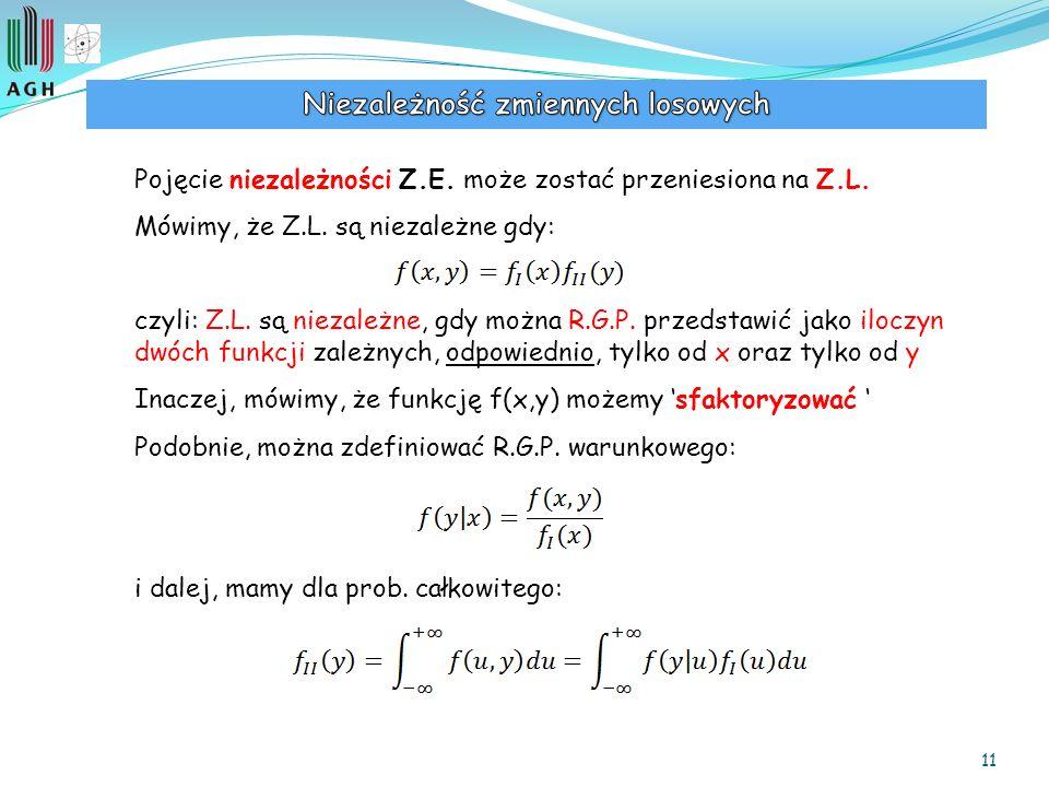 11 Pojęcie niezależności Z.E. może zostać przeniesiona na Z.L. Mówimy, że Z.L. są niezależne gdy: czyli: Z.L. są niezależne, gdy można R.G.P. przedsta