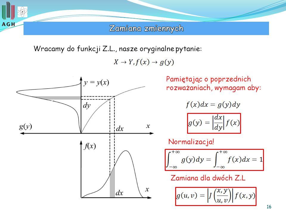 16 Wracamy do funkcji Z.L., nasze oryginalne pytanie: Pamiętając o poprzednich rozważaniach, wymagam aby: Normalizacja! Zamiana dla dwóch Z.L