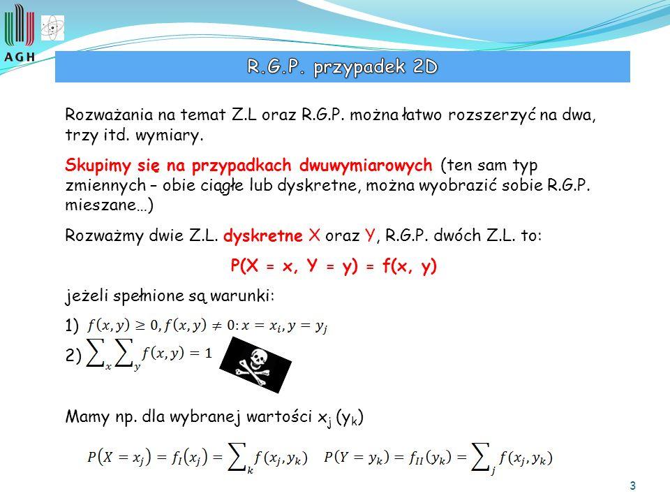 4 Rozkłady brzegowe (R.G.P. 1D!) Podobnie jak dla R.G.P. jednej zmiennej, możemy użyć tabelki: