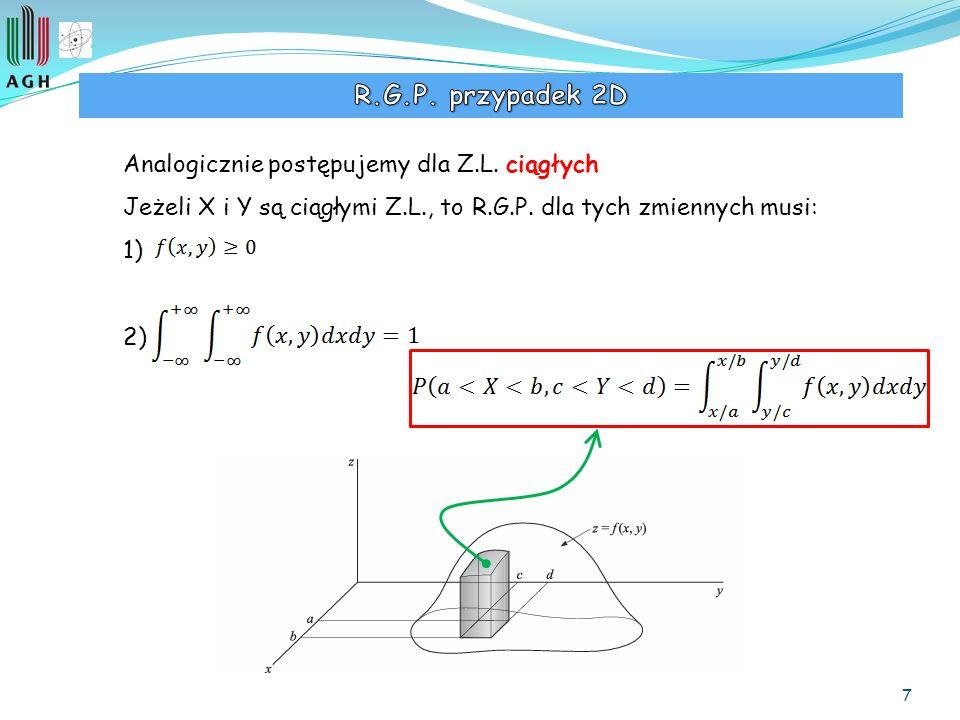 7 Analogicznie postępujemy dla Z.L. ciągłych Jeżeli X i Y są ciągłymi Z.L., to R.G.P. dla tych zmiennych musi: 1) 2)