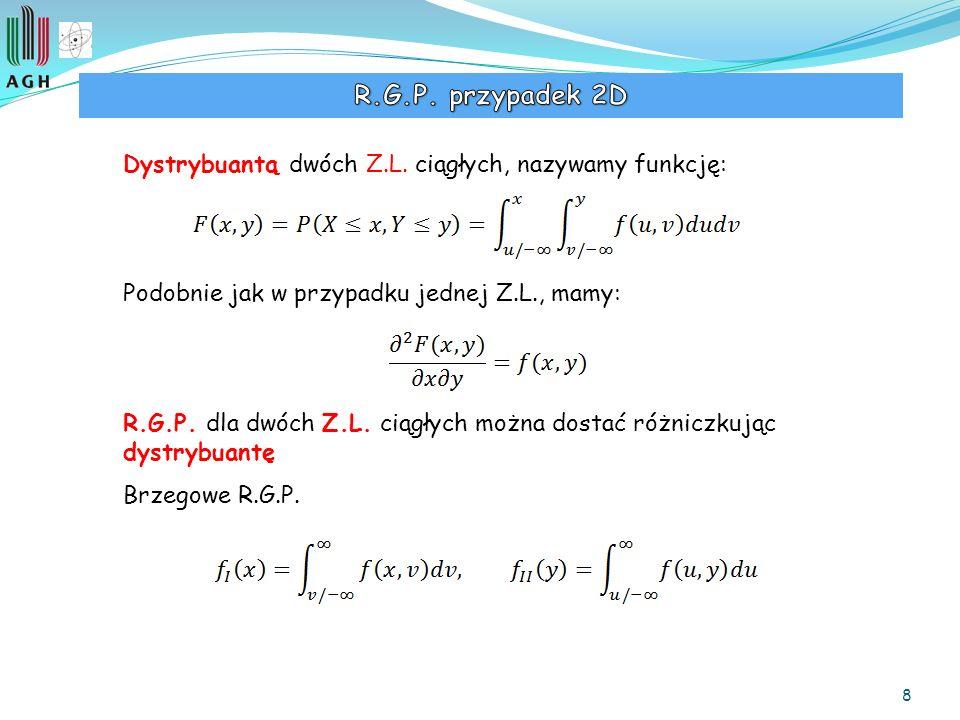 8 Dystrybuantą dwóch Z.L. ciągłych, nazywamy funkcję: Podobnie jak w przypadku jednej Z.L., mamy: R.G.P. dla dwóch Z.L. ciągłych można dostać różniczk