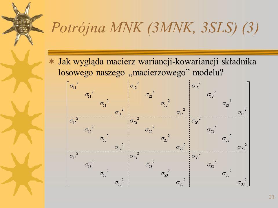 Potrójna MNK (3MNK, 3SLS) (3) 21 Jak wygląda macierz wariancji-kowariancji składnika losowego naszego macierzowego modelu?