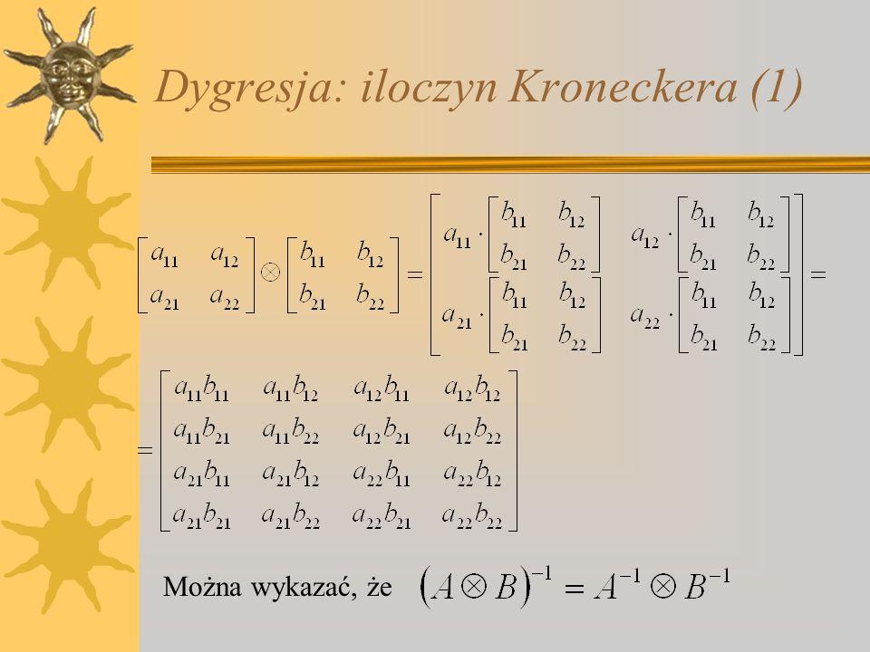 Dygresja: iloczyn Kroneckera (1) Można wykazać, że