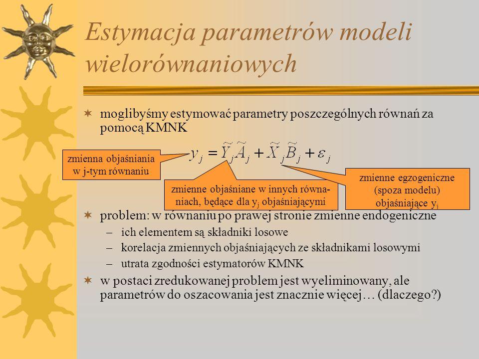 Estymacja parametrów modeli wielorównaniowych moglibyśmy estymować parametry poszczególnych równań za pomocą KMNK problem: w równaniu po prawej stroni
