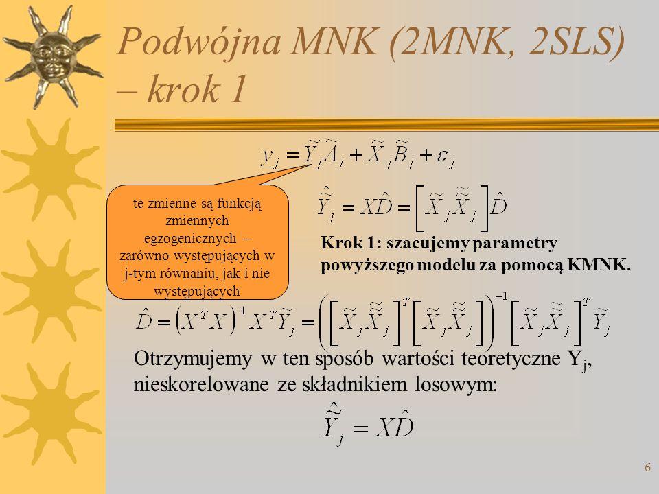 Podwójna MNK (2MNK, 2SLS) – krok 1 6 te zmienne są funkcją zmiennych egzogenicznych – zarówno występujących w j-tym równaniu, jak i nie występujących