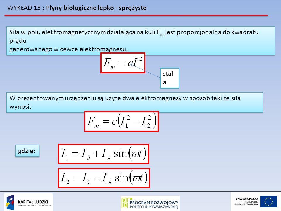 WYKŁAD 13 : Płyny biologiczne lepko - sprężyste Siła w polu elektromagnetycznym działająca na kuli F m jest proporcjonalna do kwadratu prądu generowan