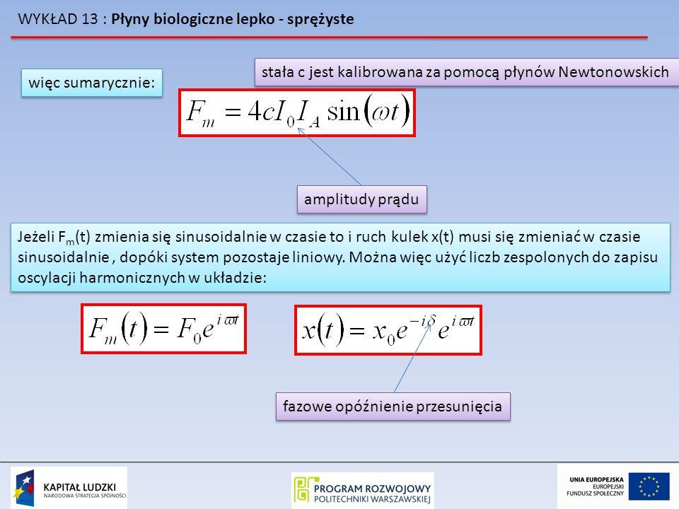 WYKŁAD 13 : Płyny biologiczne lepko - sprężyste więc sumarycznie: amplitudy prądu stała c jest kalibrowana za pomocą płynów Newtonowskich Jeżeli F m (