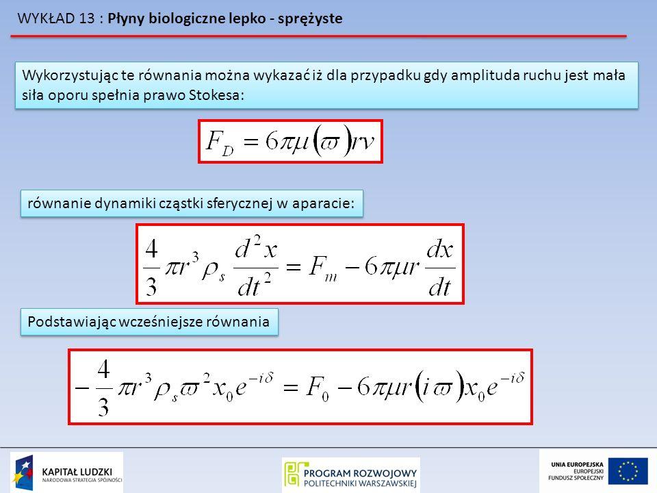 WYKŁAD 13 : Płyny biologiczne lepko - sprężyste Wykorzystując te równania można wykazać iż dla przypadku gdy amplituda ruchu jest mała siła oporu speł