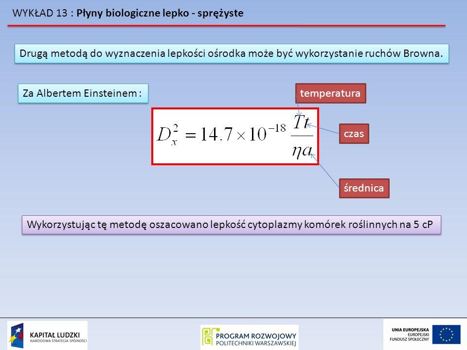WYKŁAD 13 : Płyny biologiczne lepko - sprężyste Drugą metodą do wyznaczenia lepkości ośrodka może być wykorzystanie ruchów Browna. Za Albertem Einstei