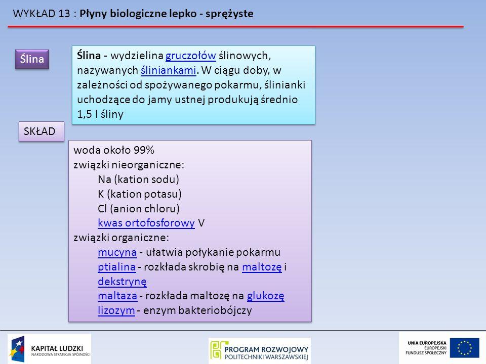 WYKŁAD 13 : Płyny biologiczne lepko - sprężyste Ślina Ślina - wydzielina gruczołów ślinowych, nazywanych śliniankami. W ciągu doby, w zależności od sp