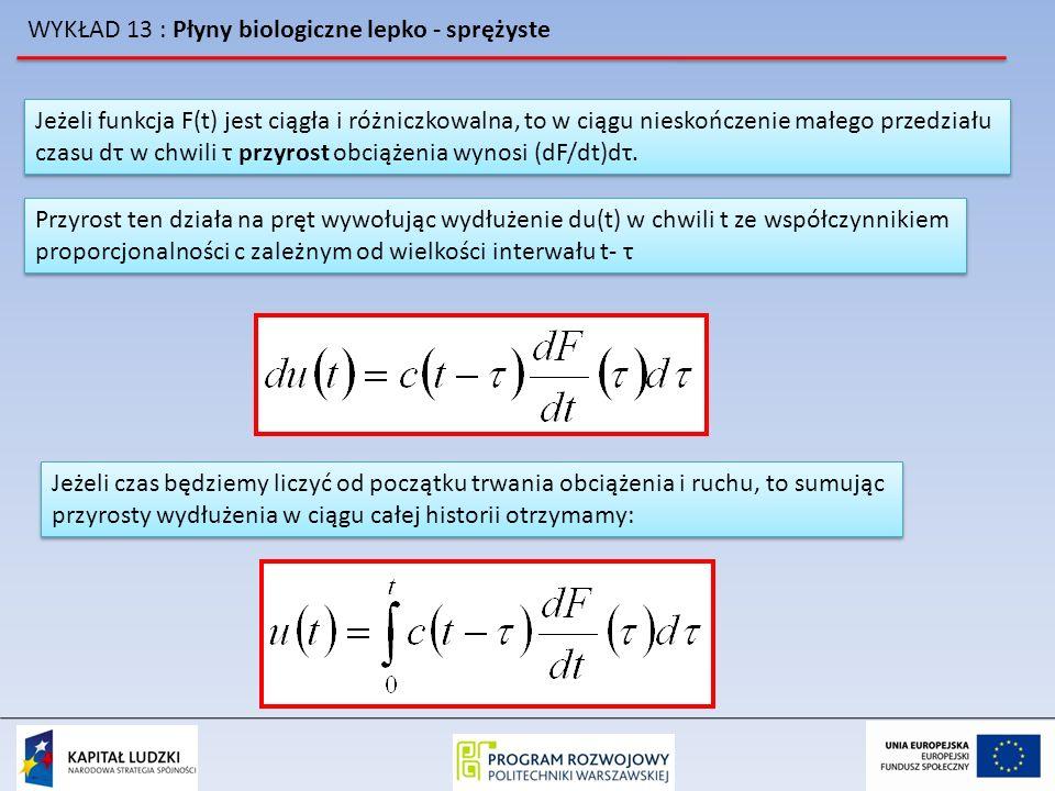 WYKŁAD 13 : Płyny biologiczne lepko - sprężyste Jeżeli funkcja F(t) jest ciągła i różniczkowalna, to w ciągu nieskończenie małego przedziału czasu dτ
