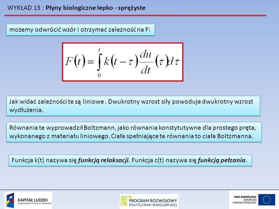 WYKŁAD 13 : Płyny biologiczne lepko - sprężyste możemy odwrócić wzór i otrzymać zależność na F: Jak widać zależności te są liniowe. Dwukrotny wzrost s