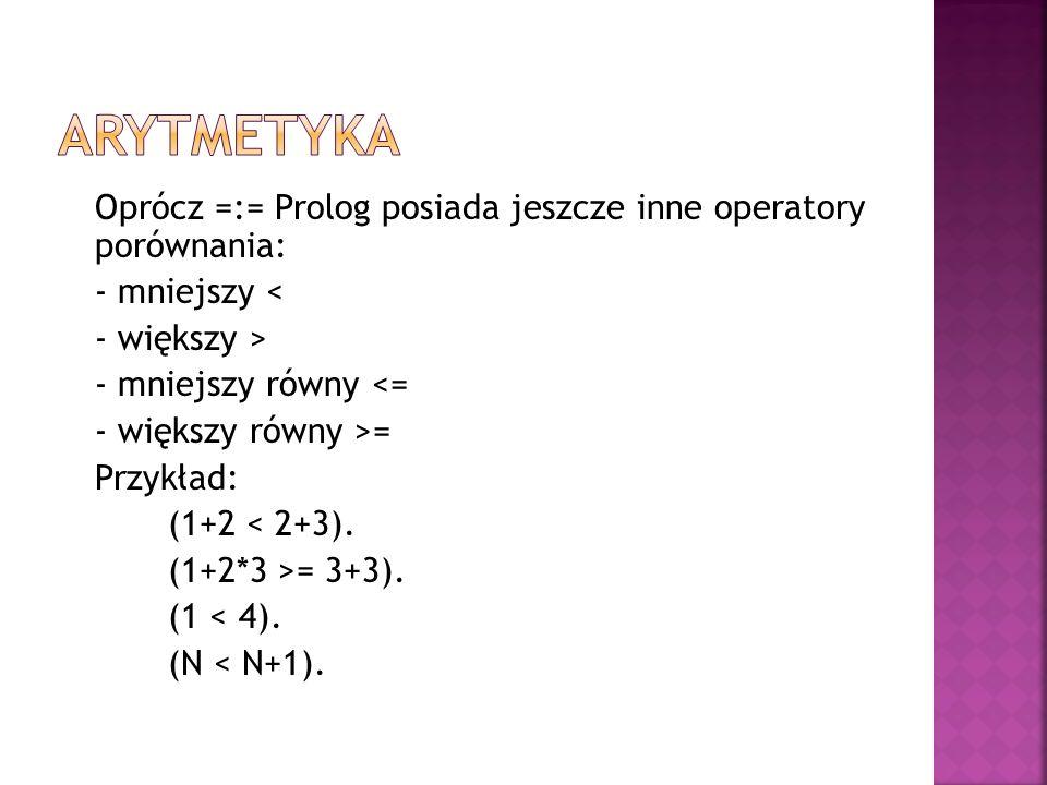 Oprócz =:= Prolog posiada jeszcze inne operatory porównania: - mniejszy < - większy > - mniejszy równy <= - większy równy >= Przykład: (1+2 < 2+3). (1
