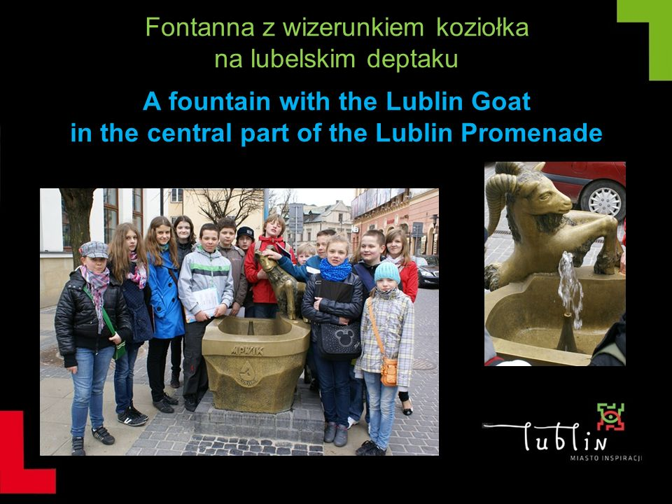 Fontanna z wizerunkiem koziołka na lubelskim deptaku A fountain with the Lublin Goat in the central part of the Lublin Promenade