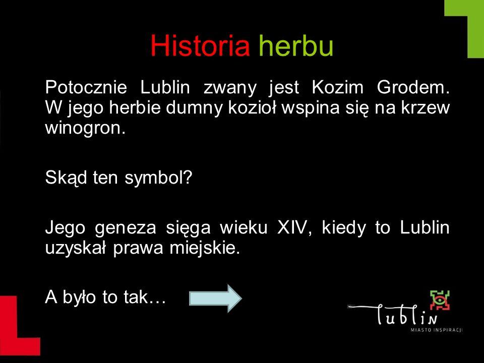Historia herbu Potocznie Lublin zwany jest Kozim Grodem. W jego herbie dumny kozioł wspina się na krzew winogron. Skąd ten symbol? Jego geneza sięga w