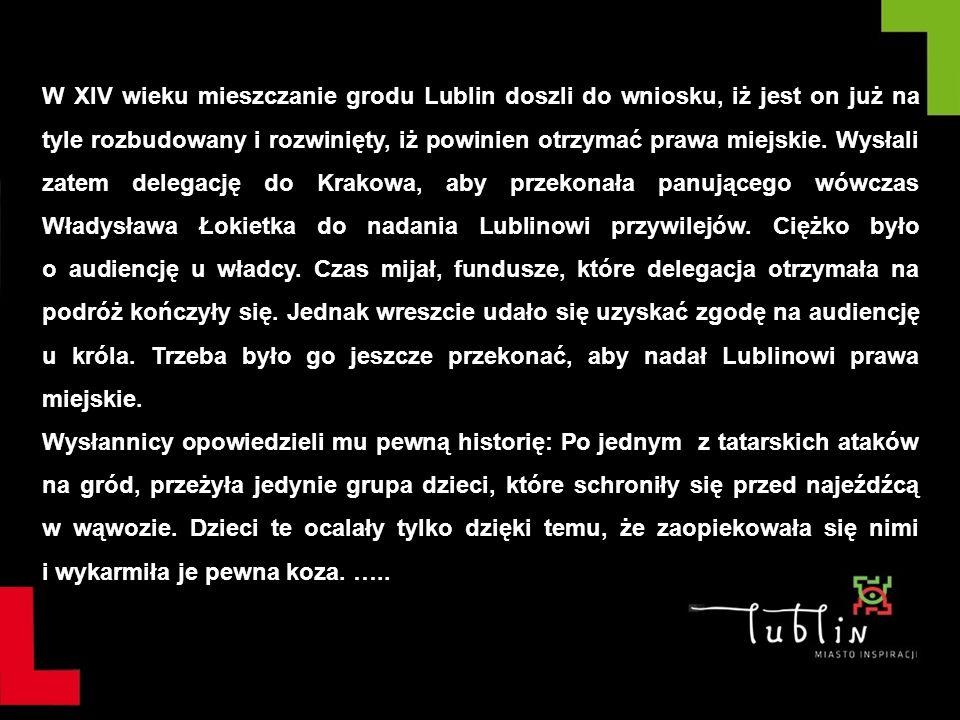 W XIV wieku mieszczanie grodu Lublin doszli do wniosku, iż jest on już na tyle rozbudowany i rozwinięty, iż powinien otrzymać prawa miejskie. Wysłali