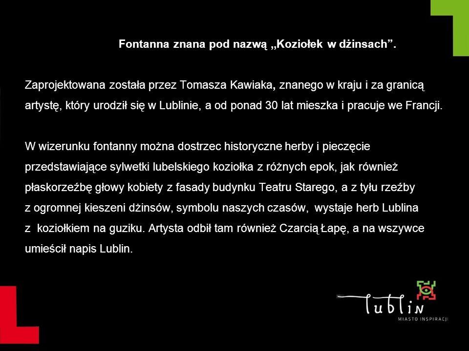 Fontanna znana pod nazwą,,Koziołek w dżinsach. Zaprojektowana została przez Tomasza Kawiaka, znanego w kraju i za granicą artystę, który urodził się w