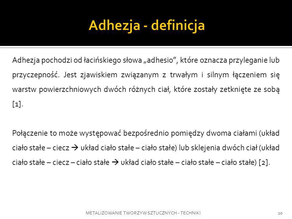 METALIZOWANIE TWORZYW SZTUCZNYCH - TECHNIKI10 Adhezja pochodzi od łacińskiego słowa adhesio, które oznacza przyleganie lub przyczepność. Jest zjawiski