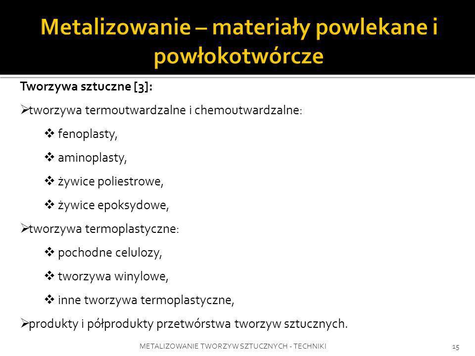 METALIZOWANIE TWORZYW SZTUCZNYCH - TECHNIKI15 Tworzywa sztuczne [3]: tworzywa termoutwardzalne i chemoutwardzalne: fenoplasty, aminoplasty, żywice pol