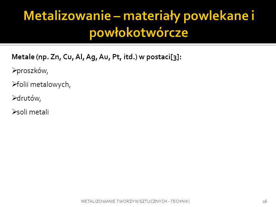 METALIZOWANIE TWORZYW SZTUCZNYCH - TECHNIKI16 Metale (np. Zn, Cu, Al, Ag, Au, Pt, itd.) w postaci[3]: proszków, folii metalowych, drutów, soli metali